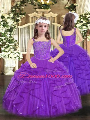 Exquisite Purple Sleeveless Floor Length Beading and Ruffles Lace Up Winning Pageant Gowns