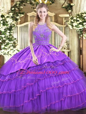Luxury Sleeveless Beading and Embroidery and Ruffled Layers Zipper Ball Gown Prom Dress