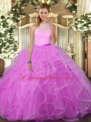 Trendy Lilac Tulle Backless High-neck Sleeveless Floor Length Sweet 16 Dress Ruffles