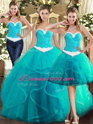 Sleeveless Lace Up Floor Length Ruffles Ball Gown Prom Dress