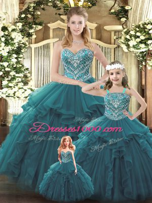 Teal Organza Lace Up Ball Gown Prom Dress Sleeveless Floor Length Beading and Ruffles