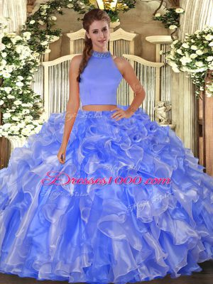 Sleeveless Beading and Ruffles Backless 15 Quinceanera Dress