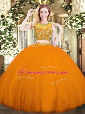Scoop Sleeveless Sweet 16 Quinceanera Dress Floor Length Beading Orange Red Tulle