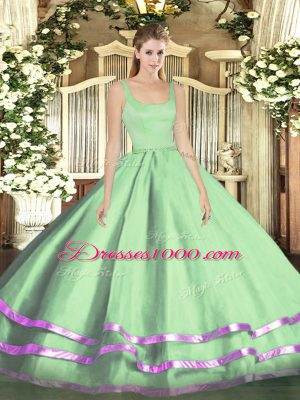 Beautiful Apple Green Sleeveless Floor Length Ruffled Layers Zipper Sweet 16 Dress