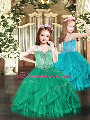 Hot Selling Floor Length Turquoise Little Girls Pageant Gowns Spaghetti Straps Sleeveless Lace Up