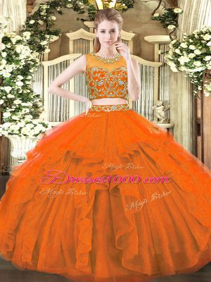 Perfect Floor Length Zipper Ball Gown Prom Dress Rust Red for Military Ball and Sweet 16 and Quinceanera with Beading and Ruffles
