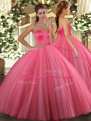 Coral Red Lace Up Sweetheart Beading 15th Birthday Dress Tulle Sleeveless