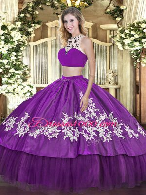 Sleeveless Backless Floor Length Beading and Appliques and Ruffles Sweet 16 Dress