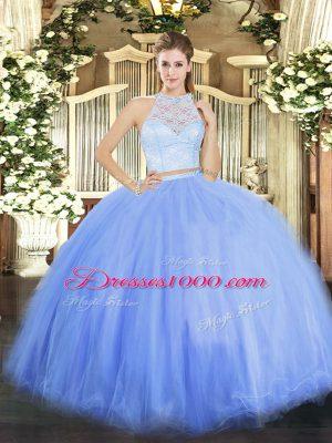 Smart Blue Scoop Neckline Lace Quinceanera Dresses Sleeveless Zipper