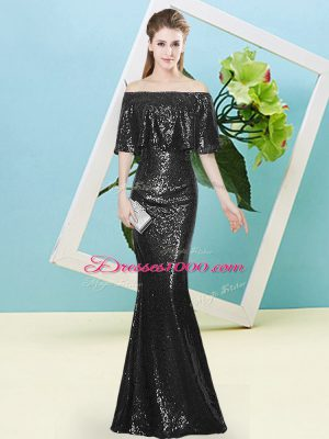 Floor Length Black Prom Party Dress Off The Shoulder Half Sleeves Zipper