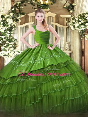 Beautiful Floor Length Olive Green Quinceanera Dress Organza and Taffeta Sleeveless Embroidery and Ruffled Layers