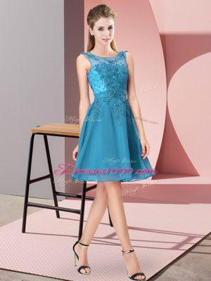 Spectacular Knee Length Empire Sleeveless Teal Bridesmaid Dresses Zipper