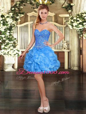 Pretty Sleeveless Organza Mini Length Lace Up Prom Evening Gown in Baby Blue with Beading and Ruffles