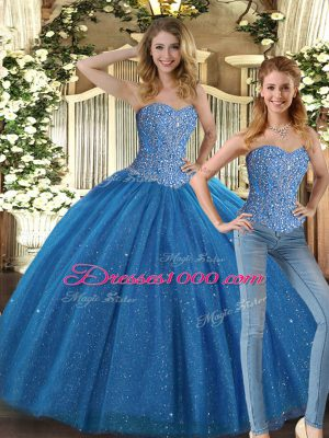 Latest Floor Length Lace Up 15 Quinceanera Dress Teal for Military Ball and Sweet 16 and Quinceanera with Beading