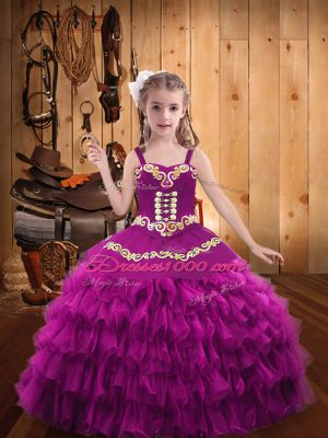 Dramatic Sleeveless Organza Floor Length Lace Up Little Girl Pageant Dress in Fuchsia with Embroidery and Ruffled Layers