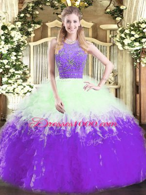 Designer Multi-color Tulle Zipper Quince Ball Gowns Sleeveless Floor Length Beading and Ruffles