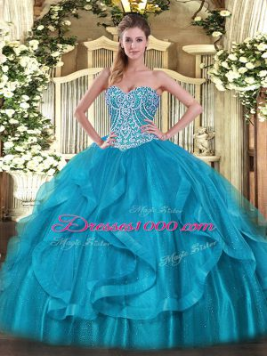 Baby Blue Sweetheart Neckline Beading and Ruffles Quinceanera Dress Sleeveless Lace Up