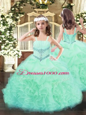 Apple Green Organza Lace Up Straps Sleeveless Floor Length Little Girls Pageant Dress Beading and Ruffles and Pick Ups