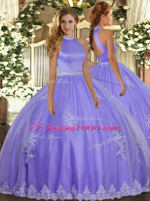 Halter Top Sleeveless Quince Ball Gowns Floor Length Beading and Appliques Lavender Tulle