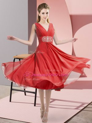 Coral Red V-neck Neckline Beading Bridesmaid Dress Sleeveless Side Zipper