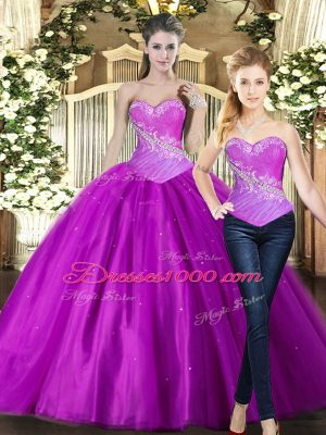 Amazing Fuchsia Sleeveless Tulle Lace Up Quinceanera Dress for Military Ball and Sweet 16 and Quinceanera