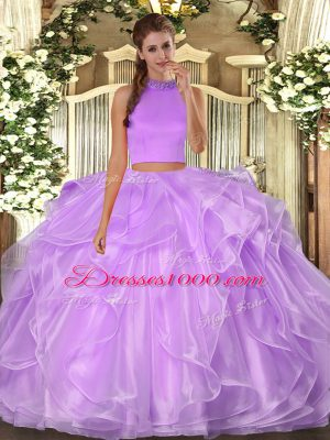 Fabulous Lilac Organza Backless Ball Gown Prom Dress Sleeveless Floor Length Beading and Ruffles