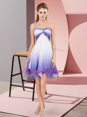 Multi-color Fading Color Lace Up One Shoulder Sleeveless Asymmetrical Prom Party Dress Beading