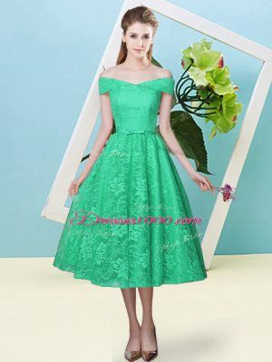 Turquoise Off The Shoulder Neckline Bowknot Bridesmaid Dress Cap Sleeves Lace Up