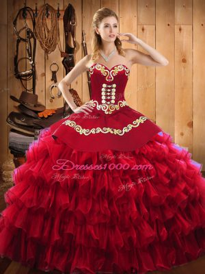 Artistic Wine Red Quinceanera Gown Military Ball and Sweet 16 and Quinceanera with Embroidery and Ruffled Layers Sweetheart Sleeveless Lace Up