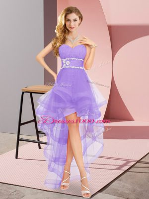 Custom Designed Sleeveless Tulle High Low Lace Up Quinceanera Court Dresses in Lavender with Beading