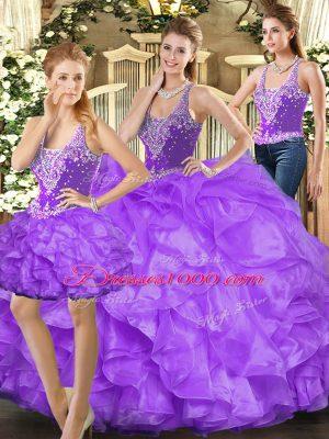 Latest Eggplant Purple Sleeveless Beading and Ruffles Floor Length 15 Quinceanera Dress