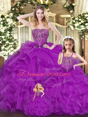 High End Purple Sleeveless Floor Length Beading and Ruffles Lace Up Quinceanera Gown