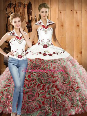 Stylish Multi-color Lace Up Halter Top Embroidery Sweet 16 Quinceanera Dress Fabric With Rolling Flowers Sleeveless Sweep Train