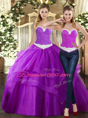 Most Popular Sleeveless Tulle Floor Length Lace Up Quinceanera Dresses in Purple with Beading and Ruching