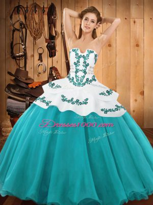 Custom Fit Teal Ball Gowns Satin and Organza Strapless Sleeveless Embroidery Floor Length Lace Up 15 Quinceanera Dress