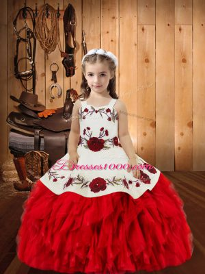 Sweet Red Ball Gowns Embroidery and Ruffles Girls Pageant Dresses Lace Up Organza Sleeveless Floor Length