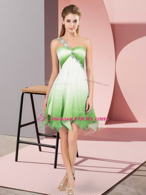Multi-color Sleeveless Asymmetrical Beading Lace Up Prom Gown