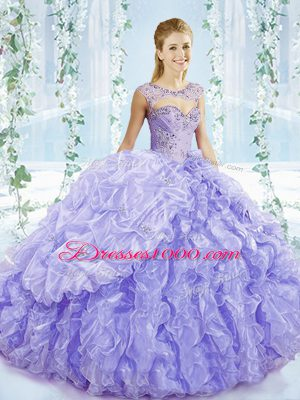 Lavender Organza Lace Up Quinceanera Gown Sleeveless Brush Train Beading and Ruffles and Pick Ups