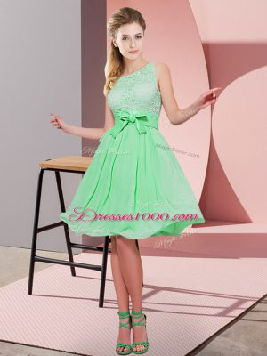 Apple Green Empire Scoop Sleeveless Chiffon Knee Length Side Zipper Lace and Bowknot Wedding Guest Dresses