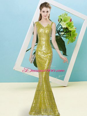Floor Length Mermaid Sleeveless Yellow Prom Dresses Zipper