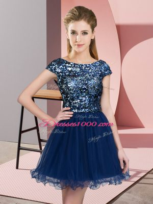 Navy Blue A-line Scoop Cap Sleeves Tulle Mini Length Zipper Sequins Vestidos de Damas