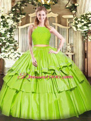Colorful Yellow Green Zipper 15th Birthday Dress Ruffled Layers Sleeveless Floor Length