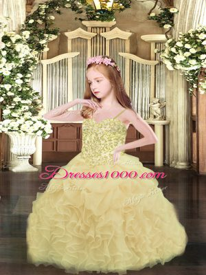 Enchanting Asymmetrical Ball Gowns Sleeveless Champagne Pageant Gowns For Girls Lace Up