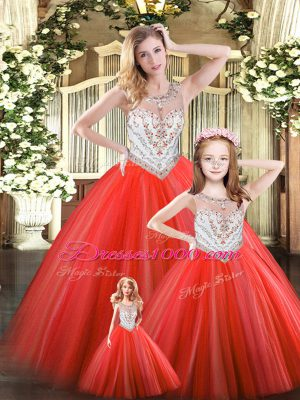 Enchanting Red Ball Gowns Beading Ball Gown Prom Dress Lace Up Tulle Sleeveless Floor Length