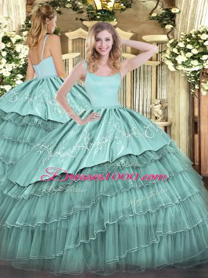 Blue Ball Gowns Organza Straps Sleeveless Embroidery and Ruffled Layers Floor Length Zipper Sweet 16 Quinceanera Dress