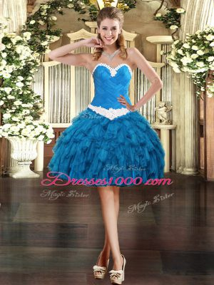 Ideal Mini Length Lace Up Juniors Party Dress Blue for Prom and Party with Appliques and Ruffles