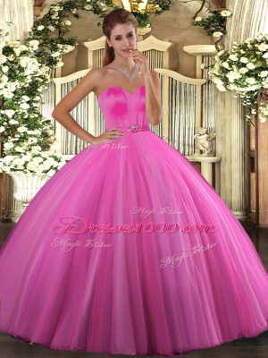 Delicate Rose Pink Tulle Lace Up Sweet 16 Dresses Sleeveless Floor Length Beading