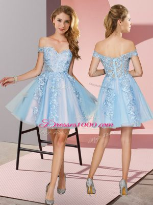 Flirting Mini Length Light Blue Quinceanera Court of Honor Dress Off The Shoulder Sleeveless Zipper