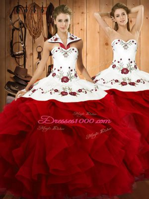 Amazing Wine Red Halter Top Lace Up Embroidery and Ruffles Ball Gown Prom Dress Sleeveless