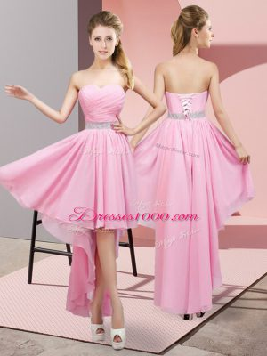 Pink A-line Sweetheart Sleeveless Chiffon High Low Lace Up Beading Bridesmaid Dress